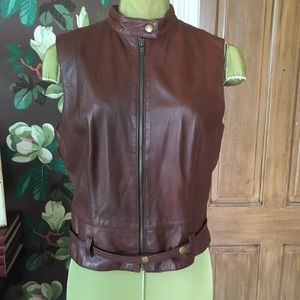 CAbi Leather Vest with Paperbag Waist